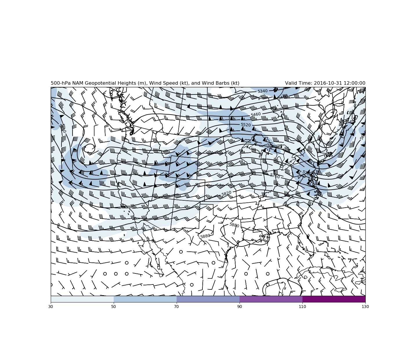 500 hPa Geopotential Heights and Winds — Unidata Python Gallery